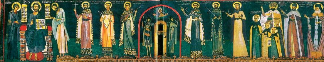 Compoziția Deisis în absida de sud a naosului. Face parte din ciclul Sfinților Mucenici români în puternică rugăciune