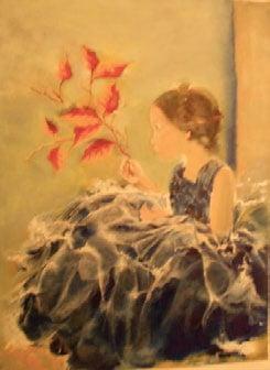 Curioasa, pictură ulei pe pânză, 50x70 cm