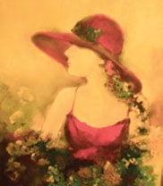 Pălăria roșie, pictură ulei pe pânză, 40x50 cm