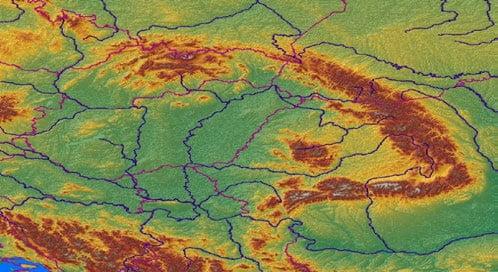 Vedere din satelit a lanţului Munţilor Carpaţi
