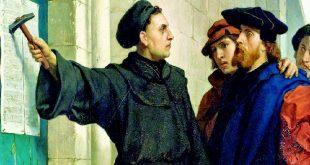 Martin Luther postând cele 95 de teze, pictură de Ferdinand Pauwels