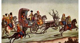 O imagine a extravaganţelor atribuite fanarioţilor din Muntenia: Nicolae Mavrogheni călătorind prin București într-o trăsură trasă de cerbi